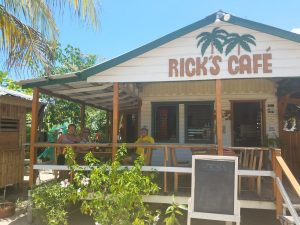Rick's Cafe on the side walk.  A favorite stop for pizza and sandwiches.